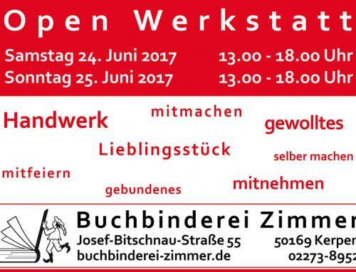 Open Werkstatt – Buchbinden erlernen – 24/25. Juni 2017