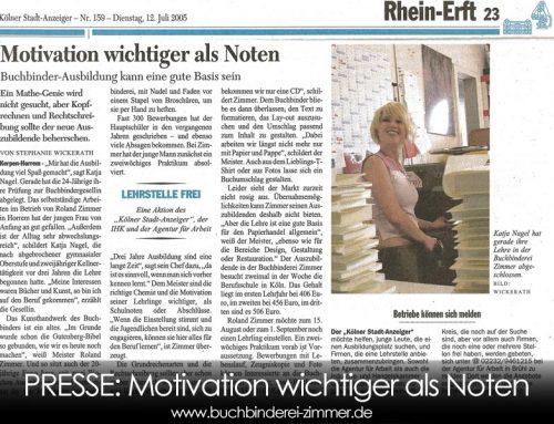 Presse Koelner Stadtanzeiger – Motivation wichtiger als Noten