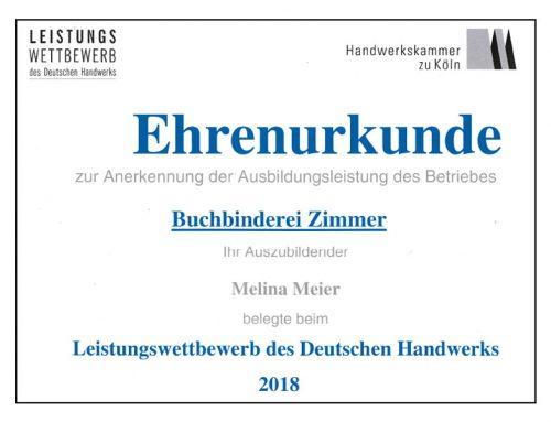 Siegerin im Buchbinderhandwerk der Handwerkskammer Köln
